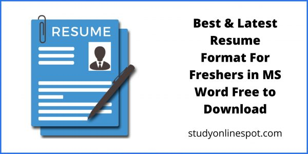 Best & Latest Resume Format For Freshers in MS Word Free to Download